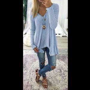 Sweaters - Powder Blue V-Neck Sweater